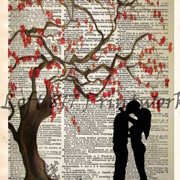 Kissing under a cherry blossom tree, falling in love romantic art print, dictionary art print