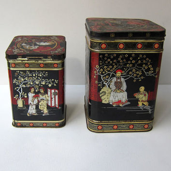Vintage oriental art deco style Chinese chinoiserie pattern collectable tea tin
