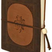 Inlay Rose Brown Italian Leather Journal with Tie