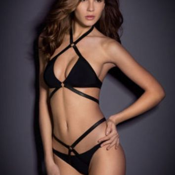Summer New Fashion Solid Color Straps Two Piece Bikini Swimsuit Black