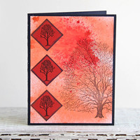 Red Twilight Tree Greeting Card, Bare Walnut Tree, Handmade Notecard, Hand Stamped Nature Scene, Red and Blue, All Occasion Card, Blank Card