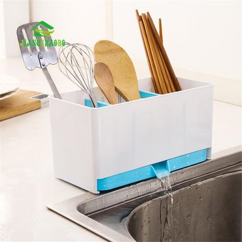Creative Separated Washable Dishes Draining Rack Kitchen Drainboard Organizer Storage Box Spoon Spatula Chopsticks Brush Holder