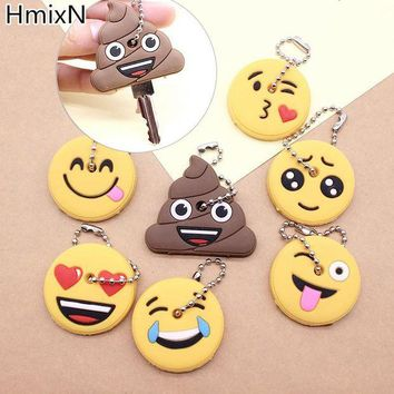 ONETOW New cute key cover Emoji smile Stool Amusing cartoon Keychain Jewelry Head yellow face Silicone Key chain ring holder porte clef