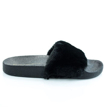 Matty01 Black By Wild Diva, open toe fluffy faux fur rubber molded foot bed slides
