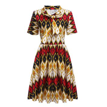 Vintage Style Bowknot Tribal Print A-line Dress for Women