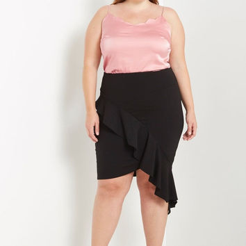 Black Ruffle Front Bodycon Skirt Plus Size