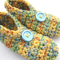 Crochet Slippers in Yellow and Multicolor Size Medium, Crocheted House Shoes, Yellow Slippers