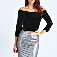 Martha Metallic PU Pencil Skirt