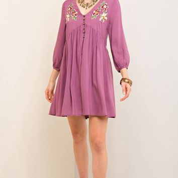 Button-Down Babydoll Dress with Embroidery