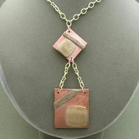 Geometric Mixed Metals Tiered Pendant Necklace, Modernistic, Metal Clay
