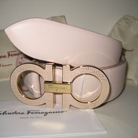 $450 NEW Salvatore Ferragamo Light Pink Wide Leather Belt Texture Gancio Buckle