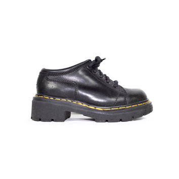 90s DR MARTENS black leather shoes - vintage 1990s - made in england docs - doc martens oxfords size 4 uk / womens 6 us