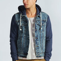 Denim Jacket With Jersey Sleeves