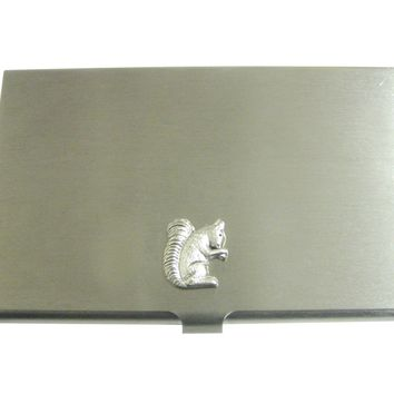 Silver Toned Small Squirrel Pendant Business Card Holder