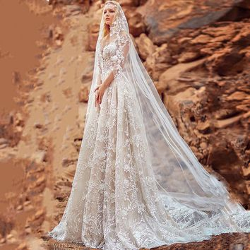 2018 New Fashion Wedding Dresses 3D flower Lace Illusion Bridal Wedding Gowns Long Sleeve A Line Backless Vestido De Noiva