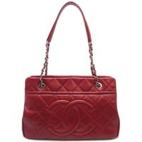 Auth Chanel Red Caviar Skin Matelasse Chain Tote Bag A67294 (DH45857)