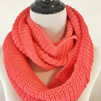 Coral Pink Infinity scarf, bright coral pink infinity scarves, coral infinity knit scarf, coral pink infinity loop around scarf