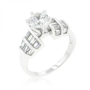 Tapered Baguette Cubic Zirconia Engagement Ring (size: 09) R08341R-C01-09