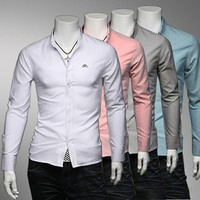 Men's Slim Fit Classic Embroidery Long Sleeve Shirts by martEnvy