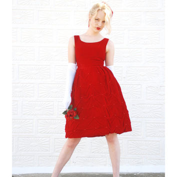 Vintage red velvet dress, 1950s sleeveless party formal prom, empire waist 1960s, XXS XS petite Liberty SALE