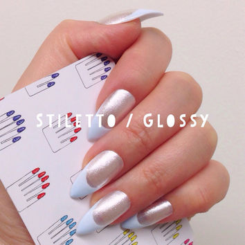 Stiletto, 12pcs, White Glitter + Pastel Blueberry French Hand Painted Nail Tips / Press On / Stick On / Fake Nails - Glossy