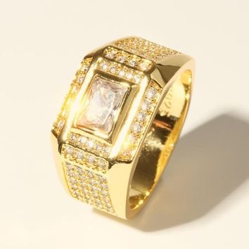 Vintage Bling Crystal Filled Gold Color 925 Stamp Signets Rings for Men Fashion Jewelry Gift Wedding Ring Size 7-12
