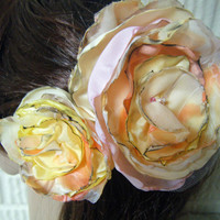 Shabby Chic Set of 2  Sherbert Colors Handmade Fabric Flowers Clip Brooch Wedding