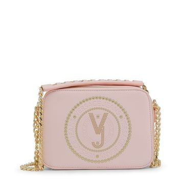 Versace Pink Studs Synthetic Leather Crossbody Bag