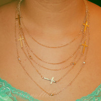 Gold Layered cross necklace (22 inch)