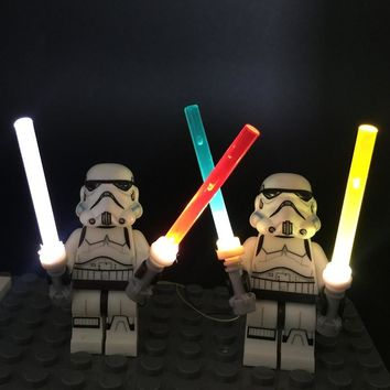 Star Wars Force Episode 1 2 3 4 5 LED light up kit 4 in1 lightsaber for lego minifigures powered by USB for  trooper darth vader Yoda General Grievous AT_72_6