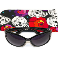 Skulls and Roses Black White Pink and Red Slide in Sunglass Case or Eyeglass Case Choose Your Size