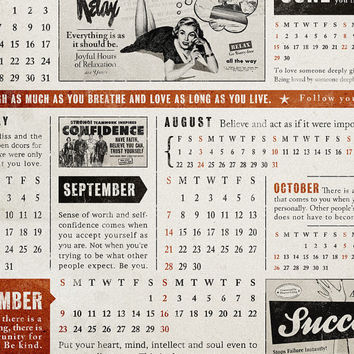 "2014 Wall Calendar / retro poster, positive calendar, fun retro art, 2014 calendar / ""Good News All Year Round"" / 12""x20"""