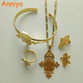 Anniyo Ethiopian Cross Jewelry sets Pendant Chain/Earrings/Ring/Bangle Gold Color & Copper Africa Eritrea Crosses sets #001416
