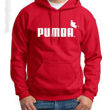 PUMBA - Puma brand company logo novelty crewneck or hoodie sweatshirt - Disney fan inspired Lion King cartoon movie Timon hakuna matata kids