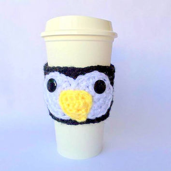 Coffee Cozy / Coffee Sleeve / Penguin Coffee Cozy / Crochet Coffee Sleeve / Cup Cozy / Coffee Cup Cozy / Crochet Coffee Cup Cozy / Mug Cozy