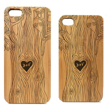 Lovers iPhone 5 5S Case Cover. Carved Tree Heart Symbol Couple Engagement Custom Initials Gift. Eco-Friendly Bamboo Wood. FREE SHIPPING