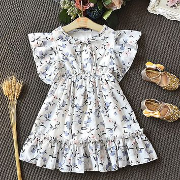 Flying Sleeve Tie Frill Floral Print Dress For Girls