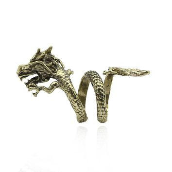 Punk Ring Men Jewelry Vintage Gothic Ethnic Dragon Steampunk Rings Chinese Style Dragon Cocktail Party Rings Gifts Drop Shipping