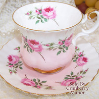 Vintage Royal Albert Banded Pink Rose Tea Cup & Saucer C889