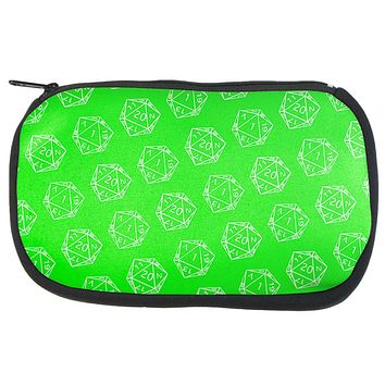 D20 Gamer Critical Hit and Fumble Green Pattern Dice Game Bag
