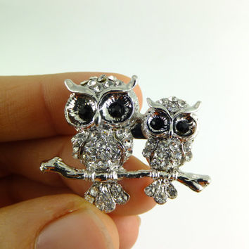 Cute Owl Owls Crystal Rhinestone Pin Brooch Silver Tone Jewelry Gift for Her Hat Pin Scarf Jewelry Dress Jewelry Accent Special Occasion