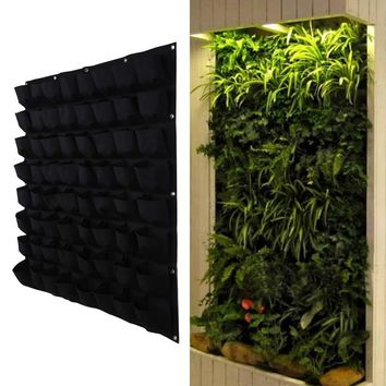 64 Pocket Hanging Vertical Garden Planter Indoor Outdoor Herb Pot Plant Living Garden Bag Gardening Green Field Grow Pocket