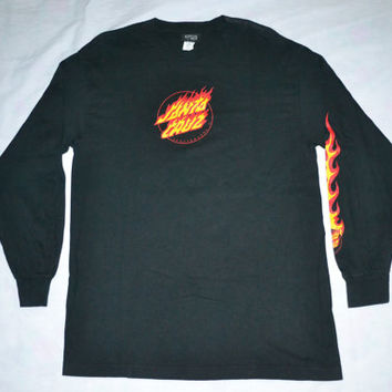ON SALE 20% Vintage SANTA Cruz Skateboard Surfboard long sleeve Large size T-shirt