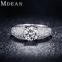 MDEAN White Gold Color Rings For Women Wedding Jewelry Bijoux zirconia vintage Accessories Engagement Bague Bijouterie MSR024