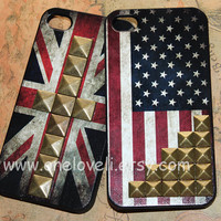 iPhone 4 4S case ---Vintage Flags America Texas British Country State iphone case cover for Iphone 4,iphone 4s,iphone 4g