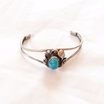 Native American Turquoise Bracelet Bangle, Vintage Jewelry