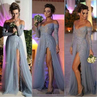 Sexy V-neck Long Sleeve Prom Dresses Grey Long A-line Tulle Side Slit Applique Lace Sexy Prom Dress 2016Vestidos De Festa