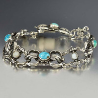 Austro Hungarian Silver Pearl Turquoise Bracelet Antique