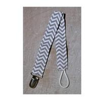 Grey Chevron Pacifier Clip