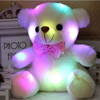 Stuffed Teddy Bear Animals Plush Toys Small For Children Colorful Glowing Luminous Lovely Gifts For Kids Babies Infants Available 5 Colors